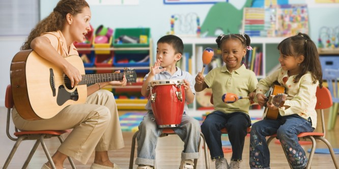 Preschool Teacher with Guitar